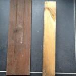 Houten balk en houten plank